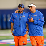 Florida Gators Assistant Coach, Wide Receivers Kerry Dixon II and Florida Gators Assistant Coach, Running Backs Ja'Juan Seider as University of Florida Gators recruits, commits and high school players from across the nation compete as the Gators host their annual Friday Night Lights camp at Ben Hill Griffin Stadium and Indoor Practice Facility.  July 21st, 2017.  Gator Country Photo by David Bowie.