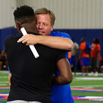 Florida Gators Head Coach Jim McElwain as University of Florida Gators recruits, commits and high school players from across the nation compete as the Gators host their annual Friday Night Lights camp at Ben Hill Griffin Stadium and Indoor Practice Facility.  July 21st, 2017.  Gator Country Photo by David Bowie.