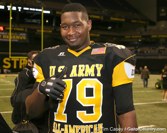 Olive Branch, Miss. (Olive Branch HS) offensive lineman Damien Robinson poses for a photo after the U.S. Army All-American Bowl on Saturday, January 9, 2010 at the Alamodome in San Antonio, Texas. / Gator Country photo by Tim Casey
