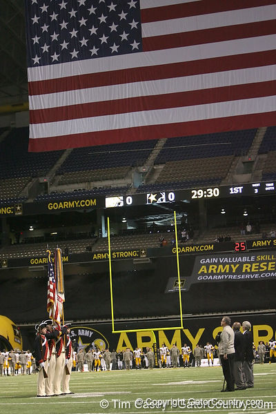 The colorguard present the flags before the U.S. Army All-American Bowl on Saturday, January 9, 2010 at the Alamodome in San Antonio, Texas. / Gator Country photo by Tim Casey