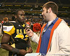 West Palm Beach, Fla. (Dwyer HS) defensive back Matt Elam talks with Gator Country reporter Justin Wells after the U.S. Army All-American Bowl on Saturday, January 9, 2010 at the Alamodome in San Antonio, Texas. / Gator Country photo by Tim Casey