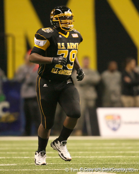Olive Branch, Miss. (Olive Branch HS) offensive lineman Damien Robinson gets introduced before the U.S. Army All-American Bowl on Saturday, January 9, 2010 at the Alamodome in San Antonio, Texas. / Gator Country photo by Tim Casey