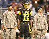 Olive Branch, Miss. (Olive Branch HS) offensive lineman Shon Coleman listens to pregame announcements before the U.S. Army All-American Bowl on Saturday, January 9, 2010 at the Alamodome in San Antonio, Texas. / Gator Country photo by Tim Casey