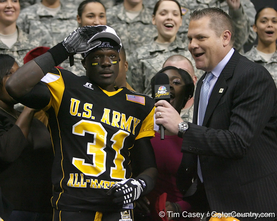 Darlington, S.C. (Darlington HS) defensive back Victor Hampton announces his verbal commitment to play for the University of South Carolina during the first half of the U.S. Army All-American Bowl on Saturday, January 9, 2010 at the Alamodome in San Antonio, Texas. / Gator Country photo by Tim Casey