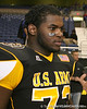 Philadelphia (Washington HS) defensive tackle Sharrif Floyd talks with Gator Country reporter Justin Wells after the U.S. Army All-American Bowl on Saturday, January 9, 2010 at the Alamodome in San Antonio, Texas. / Gator Country photo by Tim Casey
