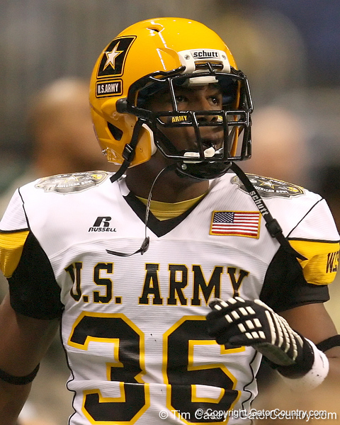 Goodyear, Ariz. (Millennium HS) defensive back Marquis Flowers rests on the sideline during the second half of the U.S. Army All-American Bowl on Saturday, January 9, 2010 at the Alamodome in San Antonio, Texas. / Gator Country photo by Tim Casey