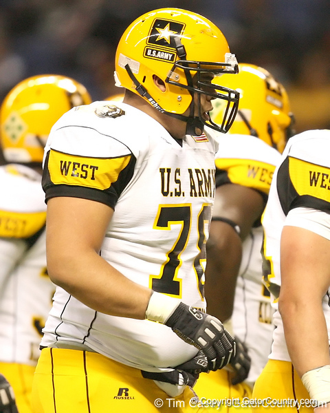 Aurora, Neb. (Aurora HS) offensive lineman Andrew Rodriguez lines up during the first half of the U.S. Army All-American Bowl on Saturday, January 9, 2010 at the Alamodome in San Antonio, Texas. / Gator Country photo by Tim Casey