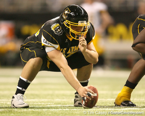 Fort Lauderdale, Fla. (St. Thomas Aquinas HS) center Brandon Linder prepares to snap the ball during the first half of the U.S. Army All-American Bowl on Saturday, January 9, 2010 at the Alamodome in San Antonio, Texas. / Gator Country photo by Tim Casey