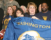 Supporters of Philadelphia (Washington HS) defensive tackle Sharrif Floyd cheer as he announces his verbal commitment to play at the University of Florida during halftime of the U.S. Army All-American Bowl on Saturday, January 9, 2010 at the Alamodome in San Antonio. / Gator Country photo by Tim Casey