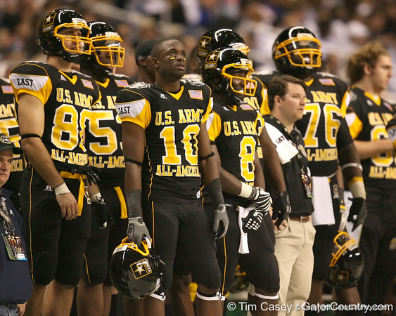 Tampa, Fla. (Tampa Catholic HS) wide receiver Christian Green watches from the sideline during the first half of the U.S. Army All-American Bowl on Saturday, January 9, 2010 at the Alamodome in San Antonio, Texas. / Gator Country photo by Tim Casey