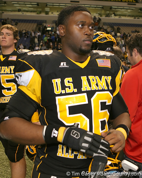 Atlanta (Douglass HS) defensive tackle Garrison Smith talks with teammates after the U.S. Army All-American Bowl on Saturday, January 9, 2010 at the Alamodome in San Antonio, Texas. / Gator Country photo by Tim Casey