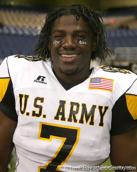 Moreno Valley, Calif. (Rancho Verde HS) defensive end Ronald Powell smiles after the U.S. Army All-American Bowl on Saturday, January 9, 2010 at the Alamodome in San Antonio, Texas. / Gator Country photo by Tim Casey