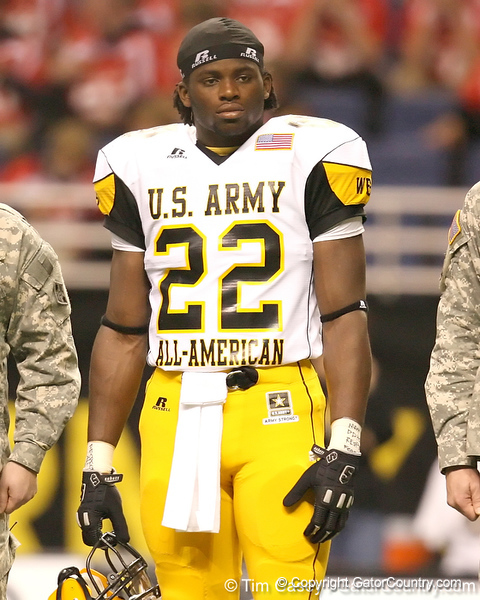 Portland, Ore. (Douglas HS) defensive end Owa Odighizuwa watches pregame activities before the U.S. Army All-American Bowl on Saturday, January 9, 2010 at the Alamodome in San Antonio, Texas. / Gator Country photo by Tim Casey