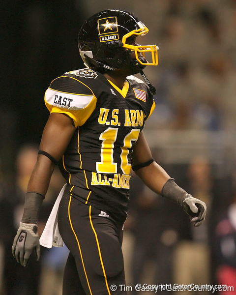Tampa, Fla. (Tampa Catholic HS) wide receiver Christian Green lines up during the second half of the U.S. Army All-American Bowl on Saturday, January 9, 2010 at the Alamodome in San Antonio, Texas. / Gator Country photo by Tim Casey