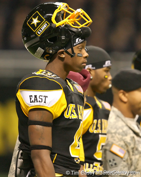 Anderson, S.C. (T.L. Hanna HS) wide receiver Martavis Bryant listens to pregame annoucements before the U.S. Army All-American Bowl on Saturday, January 9, 2010 at the Alamodome in San Antonio, Texas. / Gator Country photo by Tim Casey