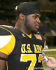 Philadelphia (Washington HS) defensive tackle Sharrif Floyd talks to a reporter after the U.S. Army All-American Bowl on Saturday, January 9, 2010 at the Alamodome in San Antonio, Texas. / Gator Country photo by Tim Casey
