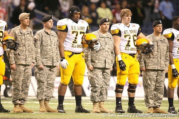 St. Paul, Minn. (Cretin-Derhim HS) offensive lineman Seantrel Henderson listens to pregame announcements before the U.S. Army All-American Bowl on Saturday, January 9, 2010 at the Alamodome in San Antonio, Texas. / Gator Country photo by Tim Casey
