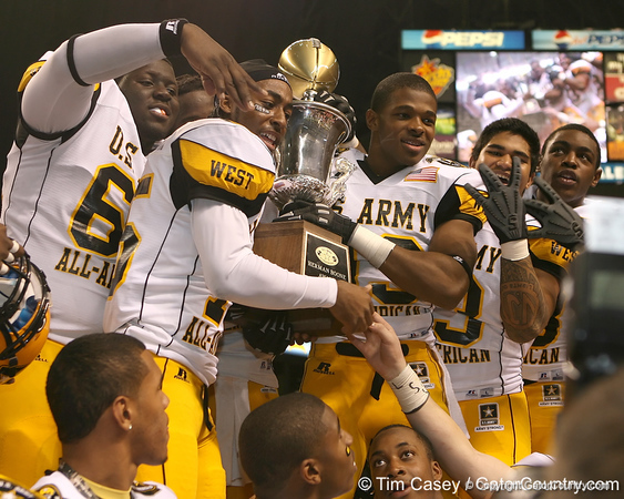 Temple, Texas (Temple HS) wide receiver Lache Seastrunk celebrates after the U.S. Army All-American Bowl on Saturday, January 9, 2010 at the Alamodome in San Antonio, Texas. / Gator Country photo by Tim Casey
