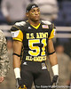 Stamford, Conn. (Stamford HS) linebacker Khairi Fortt listens to pregame announcements before the U.S. Army All-American Bowl on Saturday, January 9, 2010 at the Alamodome in San Antonio, Texas. / Gator Country photo by Tim Casey