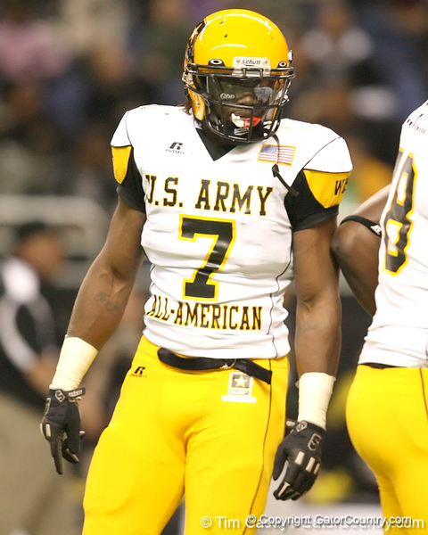 Moreno Valley, Calif. (Rancho Verde HS) defensive end Ronald Powell lines up during the first half of the U.S. Army All-American Bowl on Saturday, January 9, 2010 at the Alamodome in San Antonio, Texas. / Gator Country photo by Tim Casey