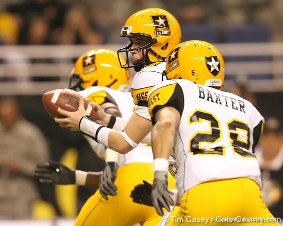 Sammamish, Wash. (Skyline HS) quarterback Jake Heaps hands off during the second half of the U.S. Army All-American Bowl on Saturday, January 9, 2010 at the Alamodome in San Antonio, Texas. / Gator Country photo by Tim Casey