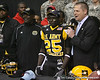 Lakewood, Ohio (Glenville Academic Campus) defensive back Latwan Anderson announces his verbal commitment to West Virginia during the first half of the U.S. Army All-American Bowl on Saturday, January 9, 2010 at the Alamodome in San Antonio, Texas. / Gator Country photo by Tim Casey