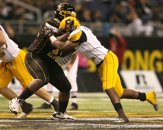 Moreno Valley, Calif. (Rancho Verde HS) defensive end Ronald Powell pressures the quarterback during the second half of the U.S. Army All-American Bowl on Saturday, January 9, 2010 at the Alamodome in San Antonio, Texas. / Gator Country photo by Tim Casey
