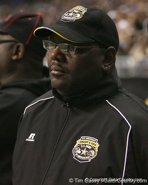 Ted Ginn, Sr. watches during the U.S. Army All-American Bowl on Saturday, January 9, 2010 at the Alamodome in San Antonio, Texas. / Gator Country photo by Tim Casey