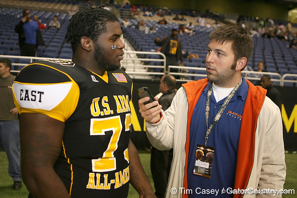 Philadelphia (Washington HS) defensive tackle Sharrif Floyd talks to  Gator Country reporter Justin Wells after the U.S. Army All-American Bowl on Saturday, January 9, 2010 at the Alamodome in San Antonio, Texas. / Gator Country photo by Tim Casey
