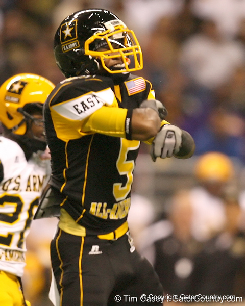 McDonough, Ga. (Henry County HS) wide receiver Markeith Ambles  celebrates after making a catch during the first half of the U.S. Army All-American Bowl on Saturday, January 9, 2010 at the Alamodome in San Antonio, Texas. / Gator Country photo by Tim Casey
