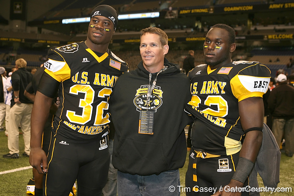 West Palm Beach, Fla. (Dwyer HS) linebacker Gerald Christian and West Palm Beach, Fla. (Dwyer HS) defensive back Matt Elam pose for a photo after the U.S. Army All-American Bowl on Saturday, January 9, 2010 at the Alamodome in San Antonio, Texas. / Gator Country photo by Tim Casey