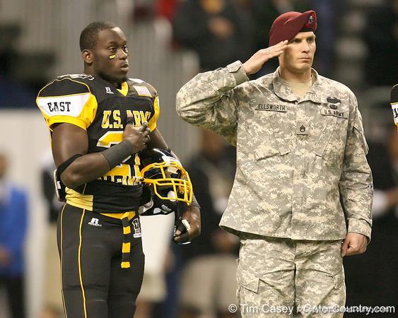 West Palm Beach, Fla. (Dwyer HS) defensive back Matt Elam listens during the national anthem before the U.S. Army All-American Bowl on Saturday, January 9, 2010 at the Alamodome in San Antonio, Texas. / Gator Country photo by Tim Casey