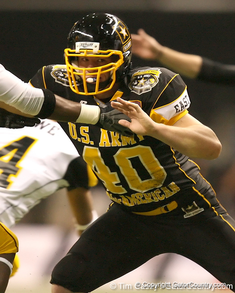 Frederick, Md. (Liganore HS) linebacker Zach Zinack blocks for a punt during the first half of the U.S. Army All-American Bowl on Saturday, January 9, 2010 at the Alamodome in San Antonio, Texas. / Gator Country photo by Tim Casey