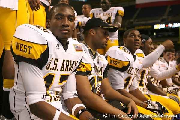 Galena Park, Texas (North Shore HS) wide receiver DeAndrew White celebrates with teammates after the U.S. Army All-American Bowl on Saturday, January 9, 2010 at the Alamodome in San Antonio, Texas. / Gator Country photo by Tim Casey