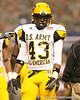 Newport Beach, Calif. (Newport Harbor HS) linebacker Cecil Whiteside lines up during the first half of the U.S. Army All-American Bowl on Saturday, January 9, 2010 at the Alamodome in San Antonio, Texas. / Gator Country photo by Tim Casey