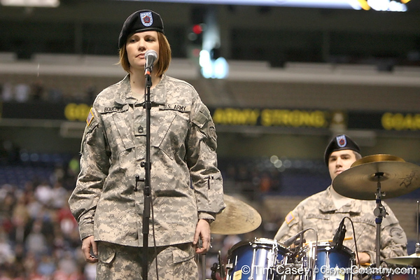 A soldier performs the Army song before the U.S. Army All-American Bowl on Saturday, January 9, 2010 at the Alamodome in San Antonio, Texas. / Gator Country photo by Tim Casey
