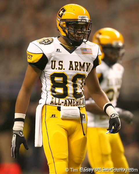 Arlington, Texas (The Oakridge School) wide receiver Ross Apo  lines up during the first half of the U.S. Army All-American Bowl on Saturday, January 9, 2010 at the Alamodome in San Antonio, Texas. / Gator Country photo by Tim Casey