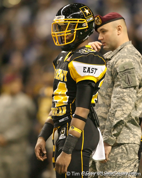 Pittsburgh (Penn Hills HS) defensive back Cullen Christian listens to pregame announcements before the U.S. Army All-American Bowl on Saturday, January 9, 2010 at the Alamodome in San Antonio, Texas. / Gator Country photo by Tim Casey