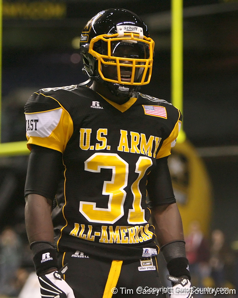 Darlington, S.C. (Darlington HS) defensive back Victor Hampton lines up after the U.S. Army All-American Bowl on Saturday, January 9, 2010 at the Alamodome in San Antonio, Texas. / Gator Country photo by Tim Casey