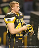 Frederick, Md. (Liganore HS) linebacker Zach Zinack watches pregame activities before the U.S. Army All-American Bowl on Saturday, January 9, 2010 at the Alamodome in San Antonio, Texas. / Gator Country photo by Tim Casey