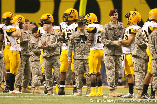 Cayuga, Texas (Cayuga HS) running back Traylon Shead applauds during pregame introductions before the U.S. Army All-American Bowl on Saturday, January 9, 2010 at the Alamodome in San Antonio, Texas. / Gator Country photo by Tim Casey