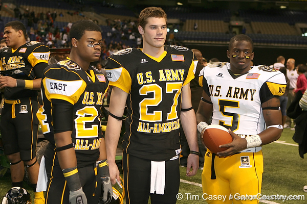 Pittsburgh (Penn Hills HS) defensive back Cullen Christian, Whitefish Bay, Wis. (Whitefish Bay HS) punter Will Hagerup and Harbor City, Calif. (Narbonne HS) defensive back Sean Parker pose for a photo after the U.S. Army All-American Bowl on Saturday, January 9, 2010 at the Alamodome in San Antonio, Texas. / Gator Country photo by Tim Casey