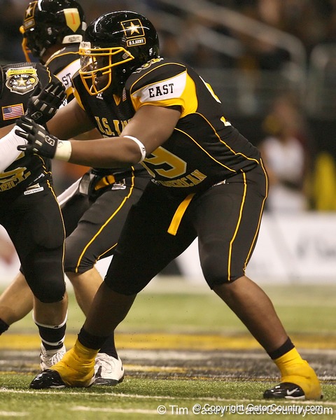 Hyattsville, Md. (DeMatha HS) offensive lineman Arie Koandijo blocks during the second half of the U.S. Army All-American Bowl on Saturday, January 9, 2010 at the Alamodome in San Antonio, Texas. / Gator Country photo by Tim Casey