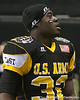 West Palm Beach, Fla. (Dwyer HS) linebacker Gerald Christian throws a football to soldiers after the U.S. Army All-American Bowl on Saturday, January 9, 2010 at the Alamodome in San Antonio, Texas. / Gator Country photo by Tim Casey