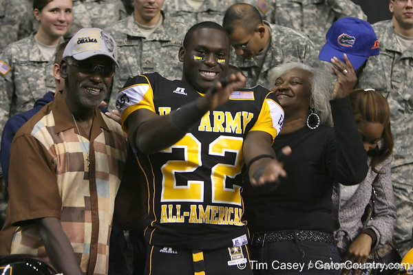 West Palm Beach, Fla. (Dwyer HS) defensive back Matt Elam announces his verbal commitment to play for the University of Florida during the U.S. Army All-American Bowl on Saturday, January 9, 2010 at the Alamodome in San Antonio, Texas. / Gator Country photo by Tim Casey