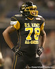 Raleigh, N.C. (Athens Drive HS) offensive lineman Robert Crisp  lines up during the first half of the U.S. Army All-American Bowl on Saturday, January 9, 2010 at the Alamodome in San Antonio, Texas. / Gator Country photo by Tim Casey