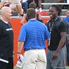 Marcell Harris, right, with Dan Quinn and Will Muschamp. / Photo by Mike Capshaw