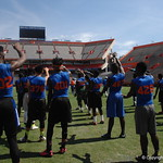 Prospects stretching before the Florida Gators football camp on June 6th, 2015. Gator Country photo by Kassidy Hill.