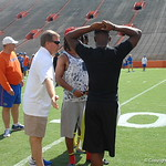 Head coach Jim McElwain, CB Aaron Robinson and CB Chauncey Gardner chat before the Florida Gators football camp on June 6th, 2015. Gator Country photo by Kassidy Hill.
