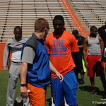 Drew Hughes and WR Cavin Ridley chat before the Florida Gators football camp on June 6th, 2015. Gator Country photo by Kassidy Hill.